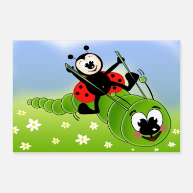 Caterpillar Ladybug and caterpillar - 30x20 cm Poster