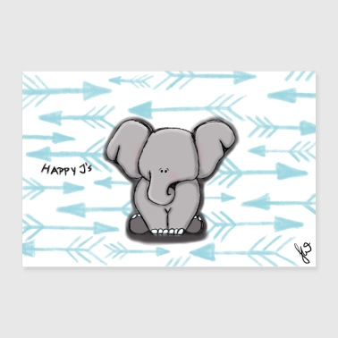 Happy J's Elephant Boy-poster - Poster 30x20 cm