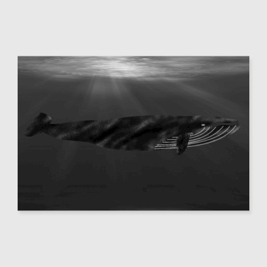 Whale in the ocean - 30x20 cm Poster