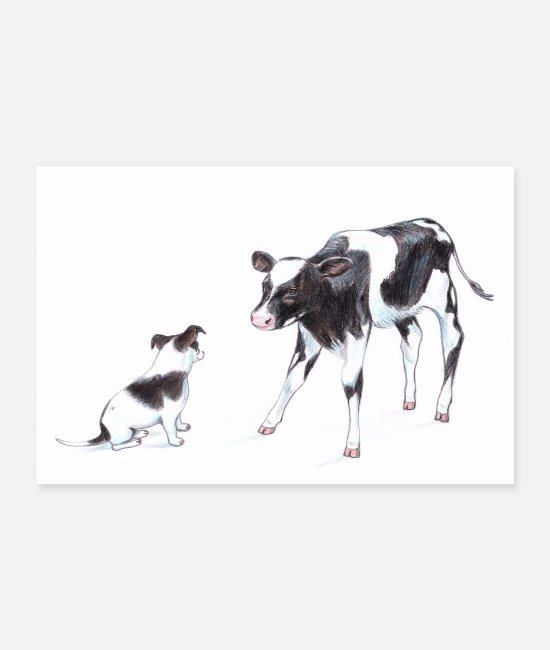 Cute Posters - Dog with cow - Posters white