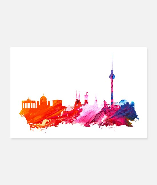 My City Posters - Berlin silhouette poster - Posters white