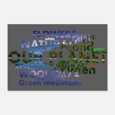 Environment words Gray background - 30x20 cm Poster