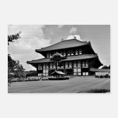 Asian Asian temple black white - Poster