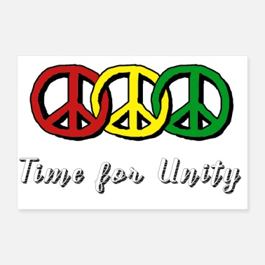 Revolutionary Three peace symbols in reggae colors with slogan - Poster