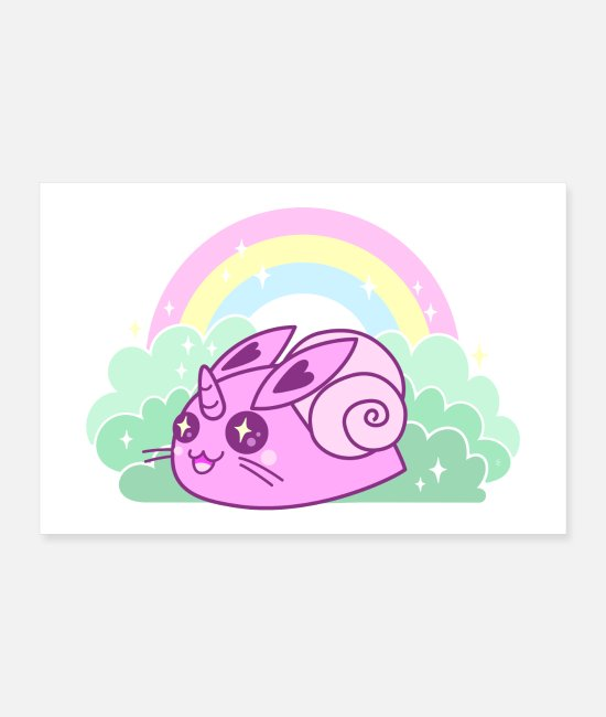 Shell Posters - The incredible Rabbit-Snail Unicorn - Posters white