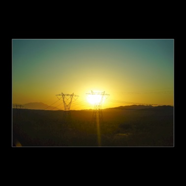 Sunset behind electricity pylon, gift idea - 30x20 cm Poster