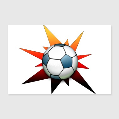 Star Football Black Red Gold Gifts - 30x20 cm Poster