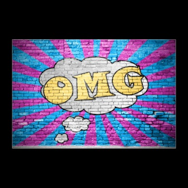 OMG Comic brick wall graffiti poster - 30x20 cm Poster