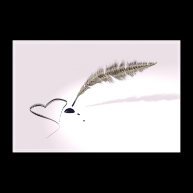 Love letter - Quill pen with ink blotch heart - 30x20 cm Poster