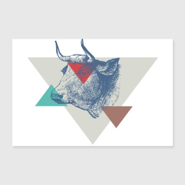 Cow triangle design - 30x20 cm Poster