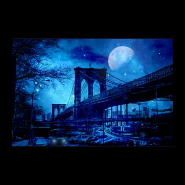 Brooklyn Bridge New York Blue Art - 30x20 cm Poster
