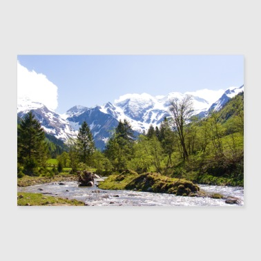 Mountain panorama med torrent - Poster 30x20 cm