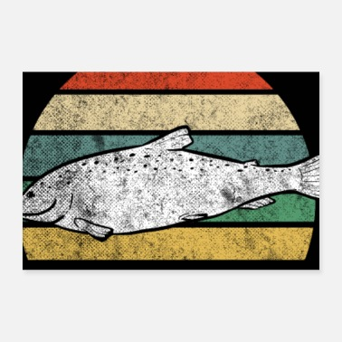 Trout Retro Trout Fisherman Dad Fishing Father Sunset - Poster