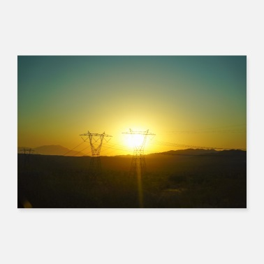 Electricity Sunset behind electricity pylon, gift idea - Poster 24 x 16 (60x40 cm)