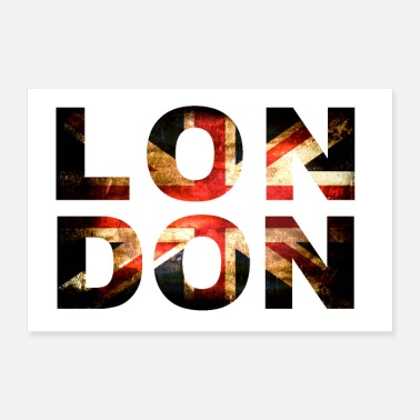 Jack London Union Jack Lettrage - Poster 60 x 40 cm