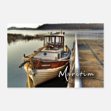 Sailboat Wooden sailing boat in the harbor MG 7735 Loreley - Poster 24 x 16 (60x40 cm)