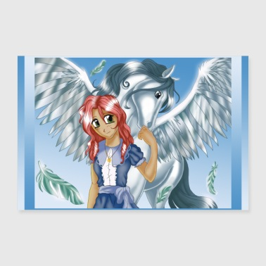 Stallion Girl and Pegasus - Poster version - Poster 24 x 16 (60x40 cm)