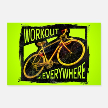 Sport Cycliste Racing Bike - Affiche Workout Everywhere - Poster 60 x 40 cm