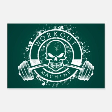 Workout Workout Machine - Skull Fitness Poster - Poster 24 x 16 (60x40 cm)