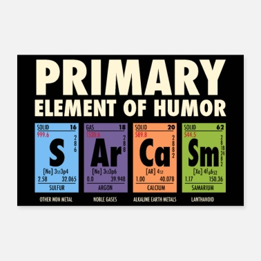 Witty S Ar Ca Sm - Periodic Table of Humor - Poster 24 x 16 (60x40 cm)