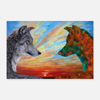 Original Deux loups - original et orange - Poster 60 x 40 cm