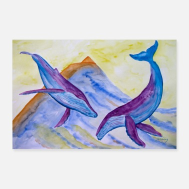 Watercolour Humpback whales and Pico - Poster 24 x 16 (60x40 cm)