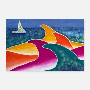 Sailboat New style with sailboat - Poster 24 x 16 (60x40 cm)