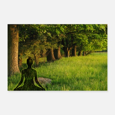 Feng Shui Yogi meditates at the forest-relax place of meditation - Poster
