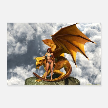 Roca DRAGON CON AMAZON - Póster 60x40 cm