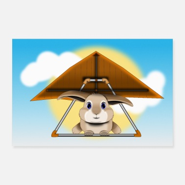 Happiness Hang Glider Hare / Rabbit Poster Zon - Poster 60x40 cm