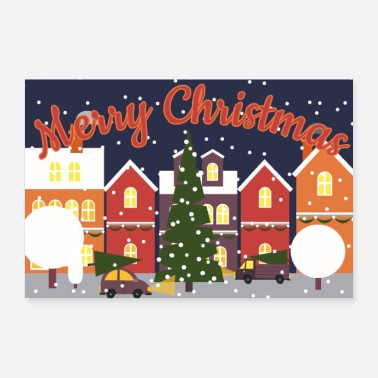 Scene Christmas scene with snow night - Poster 24 x 16 (60x40 cm)