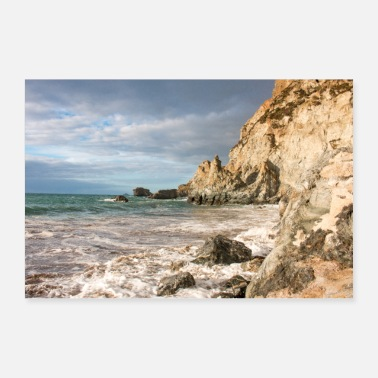 Inghilterra Trevaunance Cove ad alta marea St Agnes Cornwall - Poster