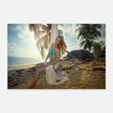 Bikini Girl in bikini on an abondon tropical beach. - Poster