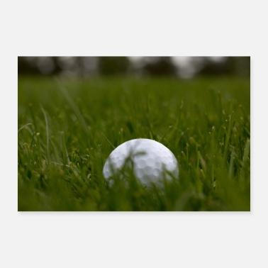 Lawn Golf ball in the rough in the high grass Lawn of the greens - Poster