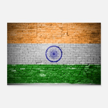 India Murvegg med flagg india plakat - Poster 60x40 cm