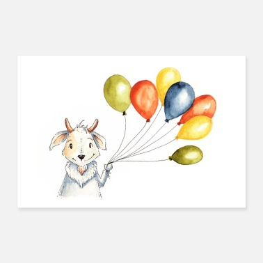 Goat with balloons - Poster