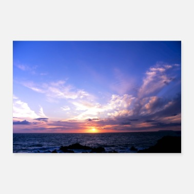 Sweep Sunset over the sea waves - Poster