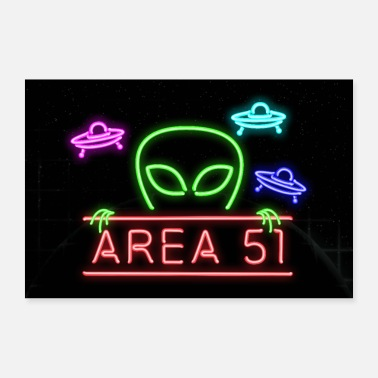 Area 51 Area 51 Man Cave Neon Pipe Sign - Poster