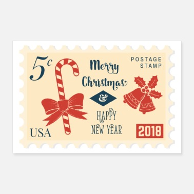 Happy New Year Stempel 5 cent Merry Christmas & Happy New Year - Poster