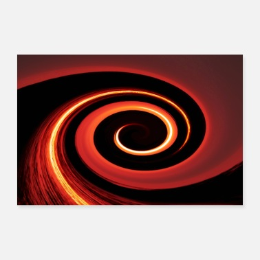 Orange abstract double spiral structure red orange black - Poster
