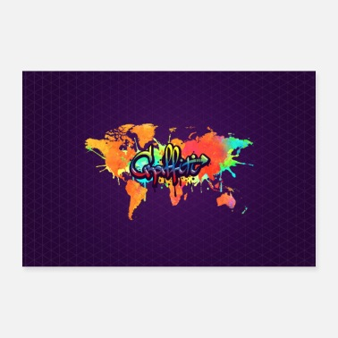 Jeugd Graffiti Art Vivid Watercolor World Map - Poster