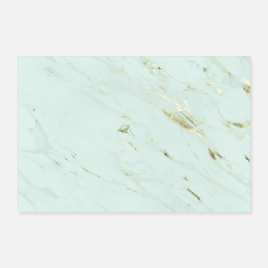 Green And Gold Mint green and gold marble - Poster