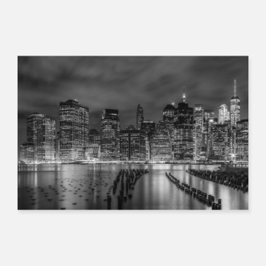 New NEW YORK CITY Monochrome impression at night - Poster
