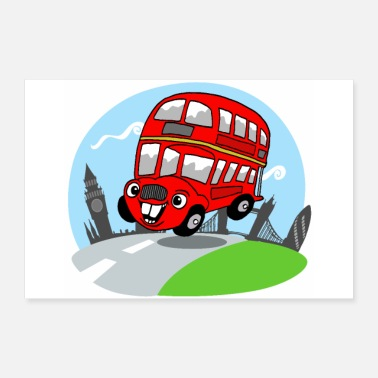 Bus Funny London Bus Kids Room Deco - Poster