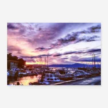 Fisherman Croatia fisherman village sunset vacation - Poster