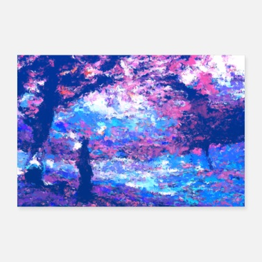 Cherry Sakura blossoms in blue - falling cherry blossoms - Poster