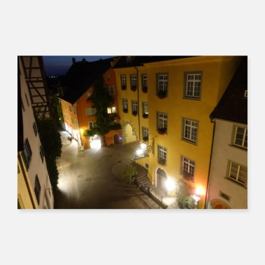 Nightspot Meersburg at night - Poster