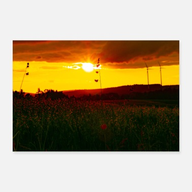 Rural Rural orange sky + sunset - Poster