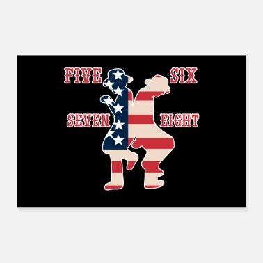 Patriot Linedance Line Dancing USA Patriot Amerika Flagge - Poster