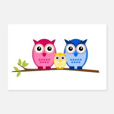 Hibou Chouette famille - Poster 60 x 40 cm